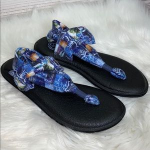 Sanuk Love Print Sling Soft Sandals Like New 8